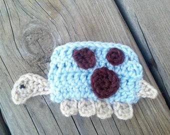 Crochet Turtle Applique Handmade for scrapbooking/ flat back/ trim/ embellish