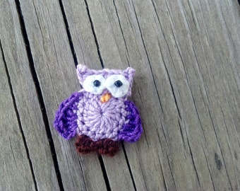 Crochet Little Lavender owl Applique Handmade wings in purple for scrapbooking trim sewing flatback