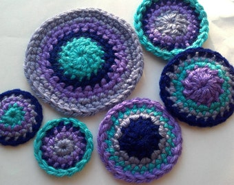 set of 6pcs Crochet pin wheel circle Appliques Handmade