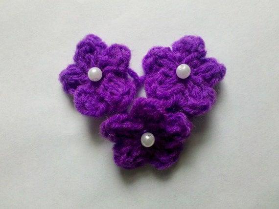 satz von 24 mini blumen h keln blume aufn her deep purple mit. Black Bedroom Furniture Sets. Home Design Ideas