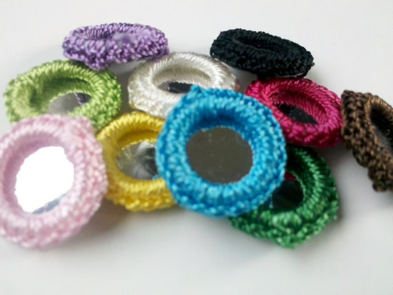 Set of 50 Crochet Gypst Hippy Mirror Bead Appliques