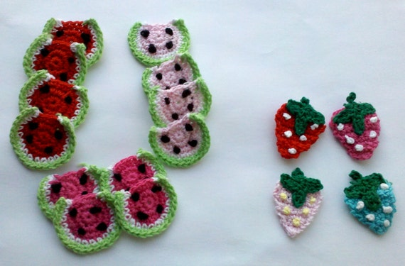 Crochet Grab Bag Pattern : Grab bag Lot of 12 Pcs Crochet watermelon Appliques & 4