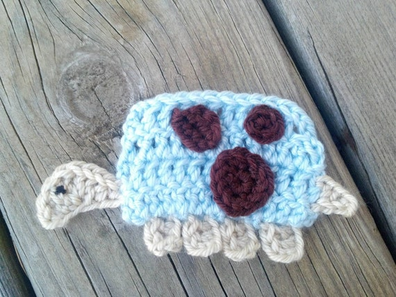 Crochet Turtle Applique Handmade for scrapbooking/ flat back/