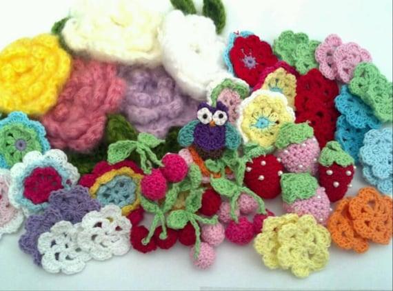 WHOLESALE PRICE - 50 pcs Assorted crochet flowers and mini owl crochet in purple