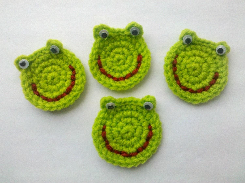 4 crochet frog froggie appliques handmade zoom bankloansurffo Gallery