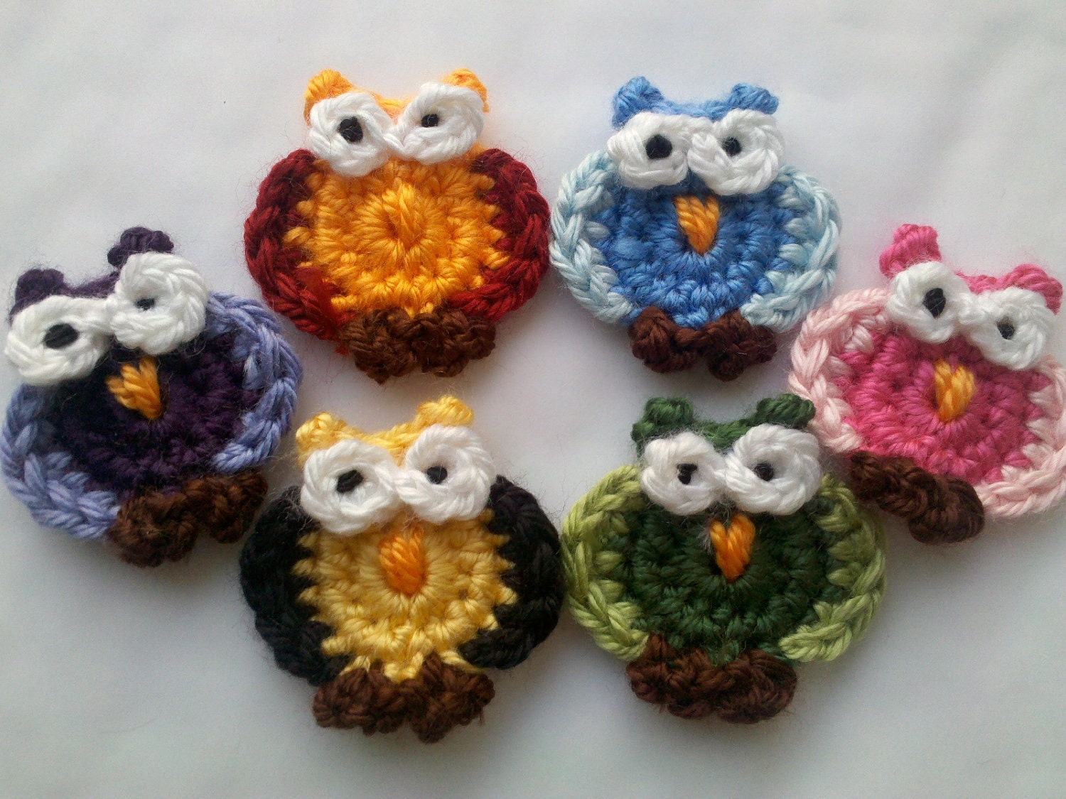 Free Crochet Pattern Small Owl : 6 Crochet Funky Little owl Appliques Handmade by Qspring ...