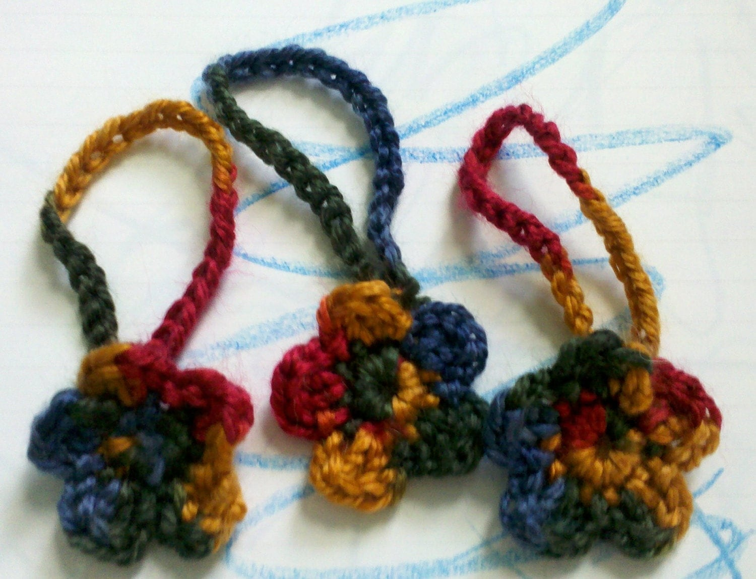 3 Small Crochet flowers great for Decorations, Ornaments, as Gift Tags, as gift wrap, Christmas holiday