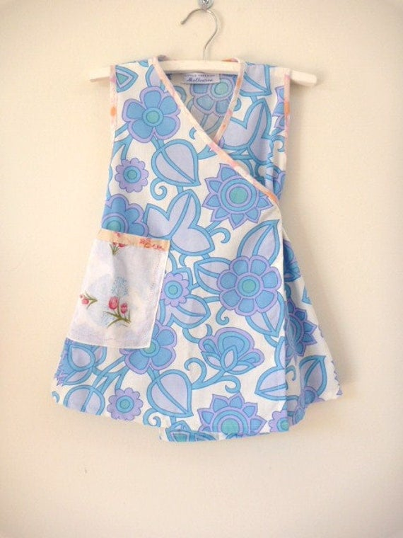 SALE girls dress, wrap style in blue and lilac leaves size 2