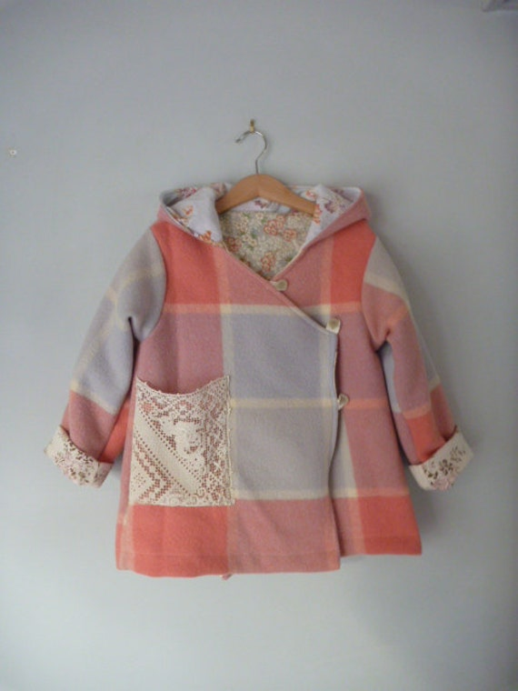 children clothing, girls eskimo jacket in rockmelon and lilac check size 6