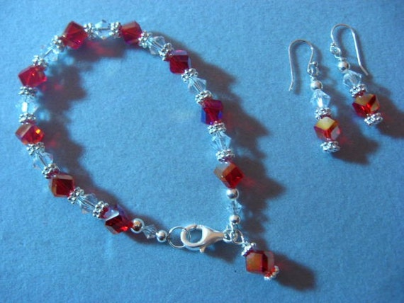 Red Cube and Clear Bicone Swarovski Crystal Bracelet with free matching Earrings