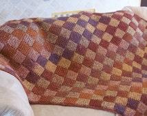 Entrelac Crochet Corner Start Square or Rectangle Pattern.  Make an afghan, blanket, shawl, dishcloth etc.