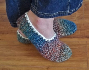 Crochet Pattern, Happy Feet Homespun Ladies Slippers.  Quick and easy.