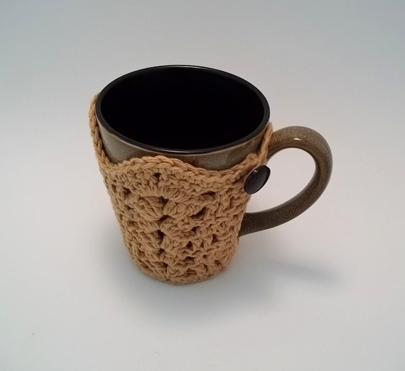 Shell Stitch Tapered Mug Cozy, Instant Download pdf file crochet pattern.