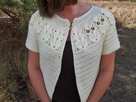It's a Hoot Owl Ladies Cardigan Sweater- Crochet Pattern, Instant Download