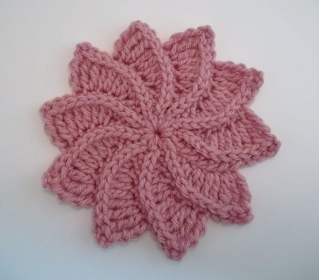 Knitted Flower Pattern : Twirlagig spiral Flower a knit look Crochet Pattern-Instant