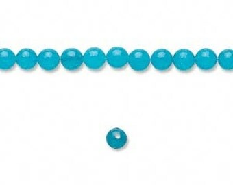 "Blue Jade 4mm Smooth Round Beads - Full 16"" Strand"