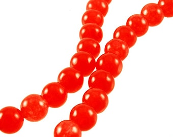 """6mm Strawberry Candy Colored Jade Round Beads - Full 16"""" Strand"""