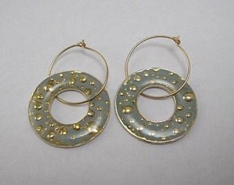 Light  green Hoop earrings with golden bubbles, dangle hoop earrings with gold foil