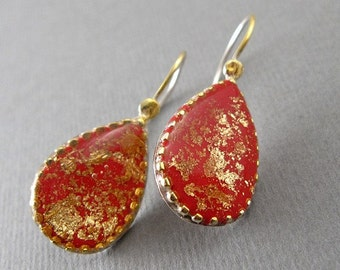 Red teardrop earrings, Red dangle earrings, Red drop earrings, Big red earrings, Red and gold earrings
