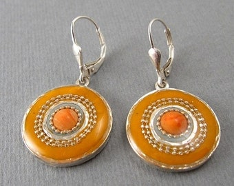Orange earrings with coral stone - sterling silver earrings