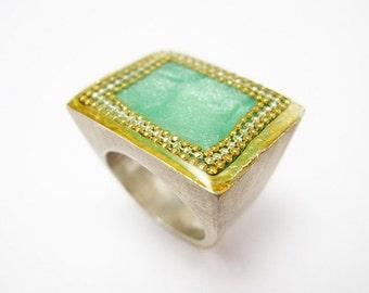Square Signet Ring, Square Turquoise Ring, Big Chunky Ring, Bohemian Ring