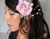 Kates Rose - Hair Flower Hair Fascinator Pink Rose and Pearls wedding hair, hair accessory