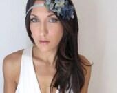 Misty Sky - Headband Hair Flower Crown Blue wedding hair, hair accessory