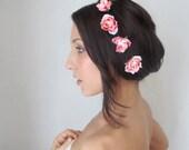 Flower Hair Pins - fairy hair flowers - Sucre - Hair Flower, Pink Rose bobbies, wedding hair accessories by DeLoo