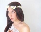 Daisy Flower Crown - SWEETS -  wedding head wreath, Hair Flower, bridal hair piece, white yellow, floral