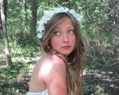 Flower Girl, Flower Crown, Wedding Accesory, White, Wedding Headband Wreath, wedding hair, hair accessory - DOVE -