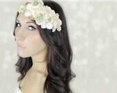 Ivory Flower Crow, Millinery Flowers, Wedding Headband, Tiara, Bridal Hair Wreath, fairy, woodland, gold