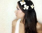 Gold Flower Hair Clips, Hair Flower, wedding hair,bridal  hair accessory, mardi gras, fairy wedding