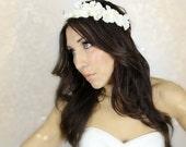Hydrangea Flower Crown, White or Ivory wedding headband, Headband, hydrangea, bridal tiara, hair accessories, flower girl