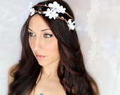 Apple Blossoms Flower Crown, Double Vine, Woodland Wedding,  Fairy Flower, White Tiara, Crystals, bridal, flower girl - ISABELLE -