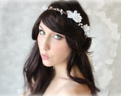 Flower Crown, Wedding Hair Flower Soft White Bridal Tiara - Jade - by DeLoop