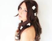 Falling Petals, Hair Flower, flower bobbies, beach wedding, hair barrettes, wedding accessory, flower girl, baby hair flower, ivory white