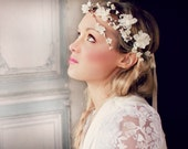 wedding accessories, bridal headpiece, wedding flower crown, ivory Flower crown, rustic head wreath, wedding headband, bridal hair