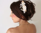 Beach Wedding, Seashell Starfish Peals Crystals & Flowers Hair Comb, 'By The Sea', wedding accessory, bridal headpiece,