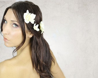 Ivory Hair flower, Lace & Pearls, Wedding hair accessories, fairy, bohemian wedding, bobbies, hair barrettes - DELLIA -
