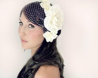 Wedding Flowers and Veil, 5 pc set, Tiara, Ivory or White, wedding accessory, bridal headpiece - JOSIE -