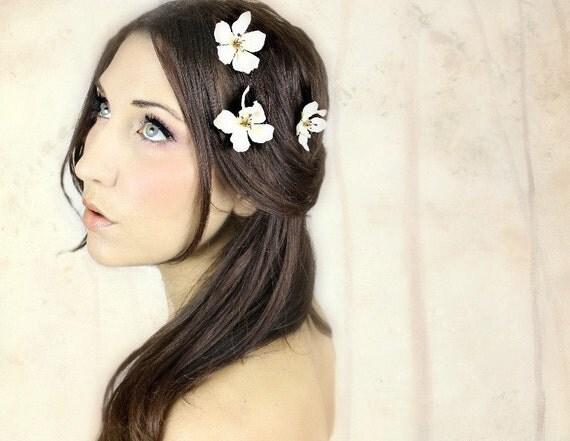 Hair Flower dogwood bobbies, flower bobbies, bridal wedding hair, hair barrettes, wedding hair accessory, flower girl, ivory white