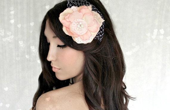 Hair Flower, Peach Pearls Lace and Veiling Millinery Flowers, Wedding Tiara, Bridal Hair Wreath, head wreath, fairy, woodland
