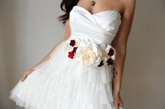 Items similar to bridal sash wedding flowers ivory for Ivory wedding dress sash