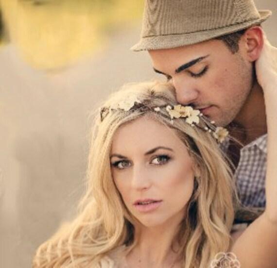 Flower Crown, Ivory Wedding Flower Headband, hair flower, fairy wedding hair, hair accessory, flower girl - ANABELLE -