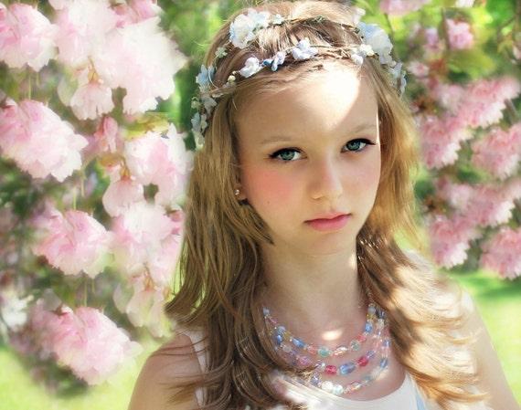 Romantic Blue Flower Bridal Crown, Woodland Wedding, Hair Flower, Whimsical Headband, fairy wedding bridal,  white - ROSALIE -