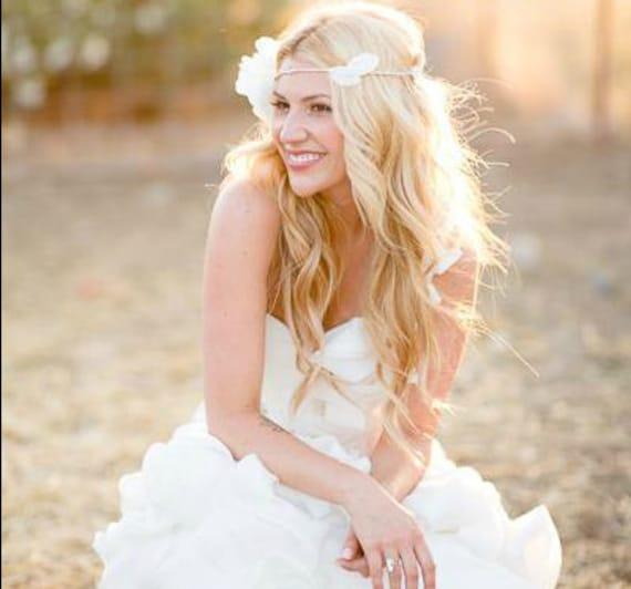 Wedding White Flower Crown: Wedding Tiara Flower Crown White Whimsical Fairy Wedding