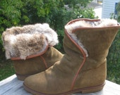 Rabbit Fur / Fleece Lined Olive Suede LL Bean Boots 5.5B