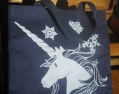 Snowy Unicorn Vintage Book Bag