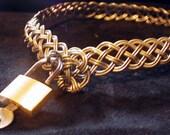 handbraided nickel silver collar with padlock