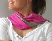 Handmade Organic Merino Wool Jersey Reversible Scarf - Magenta and Sand- Hand Dyed
